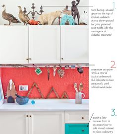 Elements of a colourful kitchen