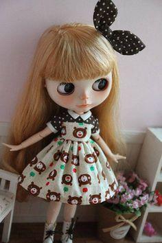 Blythe brown white polka dot short sleeves dress with yellow red green bear cartoon print pattern set dress Christmas