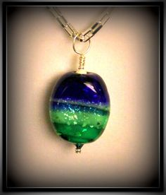 Glass Necklace in Blue and Green  Murano Glass by SunsetJewelsCo