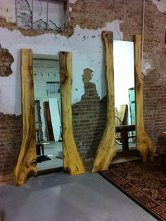 Beech Wood Slab Standing Tree Mirror