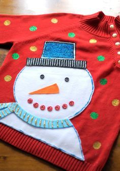 DIY Ugly Christmas sweater project - Add a little Tulip Glitter dimensional paint a.k.a. puffy paint and sparkle products to make this one-of-a-kind snowman sweater for your next holiday party. Project via Tiny Rotten Peanuts!