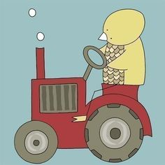Nursery Art Print Bird on a Tractor Farm Nursery by barkingbirdart, $18.00