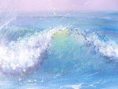 Beach ocean wave painting 18x24 large pastel by TheEscapeArtist