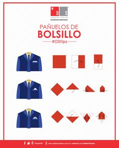 #DSTip Los pañuelos de bolsillo proyectan formalidad en tu estilo personal. Conoce cómo armar uno de los tres estilos más comunes. Logos, Tips, Moda Masculina, Men's, Pocket Squares, Personal Style, Pockets, Health, Men