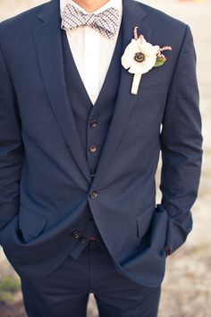 #Groom #Wedding #Suit #Tux #Vest #BowTie #Navy #Blue #Striped #Modern #Fun #ThreePiece