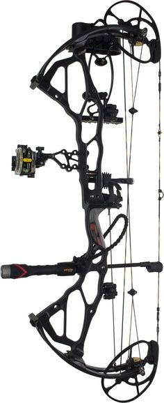 Side view of the Bowtech BTX Black Ops fully-outfitted with accessories.