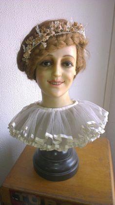 WOW Great Antique Wax Mannequin Bust Wax Head Store Display Wax Bust 1900'S   eBay