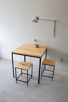 111 | 01_Custom made furniture Atelier square table  : W700 D700 H720 Frame stool st  : W300 D300 H440 Solid ash oil finish / Steel hardening melamine paint