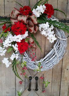 Christmas Wreath, Christmas front door wreath, Christmas Decor, Country Christmas Wreath, Christmas Door Wreath, Cardinal wreath by FarmHouseFloraLs on Etsy