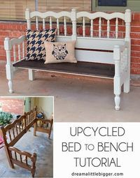 Woodworking Bench Turn an unused headboard and foot board into a fabulous front porch bench! - Turn an unused headboard and foot board into a fabulous front porch bench! Upcycling at it's finest in this bed to bench tutorial! Refurbished Furniture, Repurposed Furniture, Furniture Makeover, Handmade Furniture, Headboard Benches, Headboard And Footboard, Benches From Headboards, Headboard Ideas, Porch Furniture