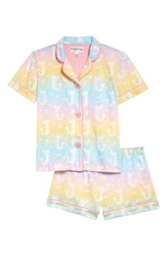 Keep her dreams magical as she dozes off to sleep in comfy two-piece pajamas featuring a playful mermaid pattern. Style Name:Pj Salvage Notch Collar Two-Piece Pajamas (Little Girl & Big Girl). Style Number: 6031088. Available in stores. Big Girl Clothes, Toddler Girl Dresses, Cozy Pajamas, Pyjamas, Lace Peplum Dress, Nordstrom, Two Piece Swimsuits, Kids Wear, Pretty Outfits