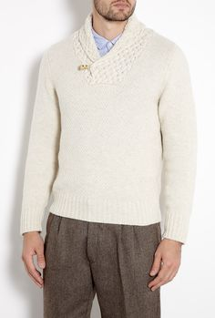 7557d1d9060 Undyed Basket Weave Shawl Collar Knit by Inis Meain