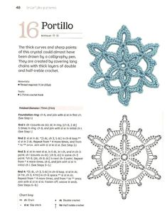 Crochet Diagram, Crochet Motif, Crochet Flowers, Knit Crochet, Thread Crochet, Crochet Dolls, Crochet Stitches, Crochet Snowflake Pattern, Crochet Snowflakes