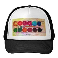Fine Art Paint Color Box & Funny Artist Brush Mesh Hats