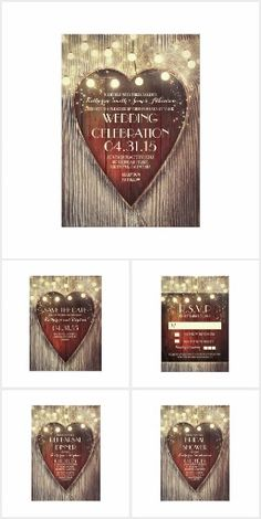 String Lights Wood Heart Wedding Collection