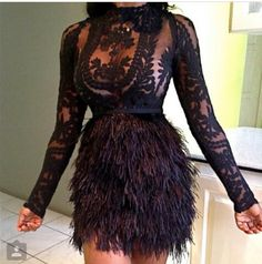 Cheap feather cocktail dress, Buy Quality cocktail dresses directly from China cocktail feather dresses Suppliers: 2017 Sexy African Straight Feather Cocktail Dresses Sheer Full Sleeves Lace Formal Party Gowns Junior High Graduation Dress Fur Skirt, Fringe Skirt, Dress Skirt, Skirt Set, Prom Dress, Bodycon Dress, Gown Dress, Homecoming Dresses, Dress Long