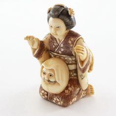 Mammoth Ivory Netsuke - Woman Sitting With Snow God