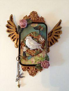Bird in nest Altoid tin shrine by SweetbriarMercantile on Etsy, $20.00