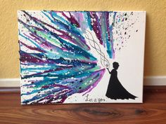 "Disney's ""Frozen"" Melted Crayon Art. This is so pretty."