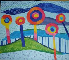 Hundertwasser art lesson-Inspired Landscapes