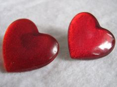 """Vintage Red """"Ruby Slippers"""" Heart Shaped Lucite Pierced Earrings- 2 For 1 Offer Ruby Wedding, Ruby Slippers, All Heart, Red Hearts, Pierced Earrings, Heart Shapes, Valentines Day, Vintage, Valentine's Day Diy"""