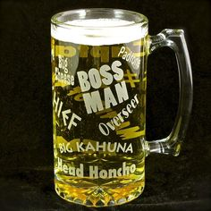 Boss Man Beer Stein, Gift for Man, Boss, Husband or Dad, Man Cave
