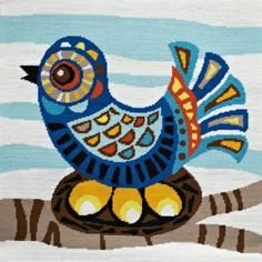 Needlepoint - Mid Century Bird by Emily Peacock