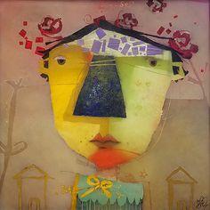 Hallman | Houses | Mixed Media on Paper | 22x22