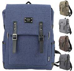 Mens Canvas Laptop Backpacks Casual Unisex School Rucksack Vintage Bookbag JF088