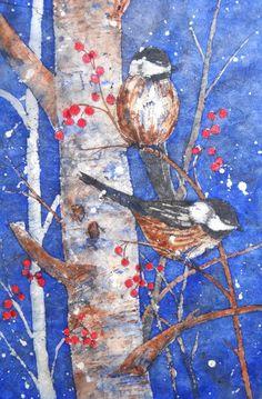 Batik Birds in Tree Berries by Watercolor Artist Martha Kisling
