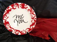 me/you Valentine plate
