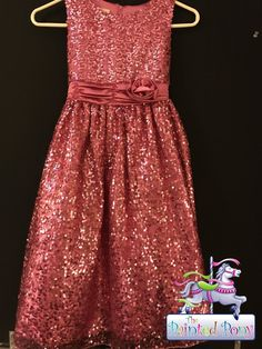 Sparkle and shine, hot pink sequined girls size 12 dress, $16.99
