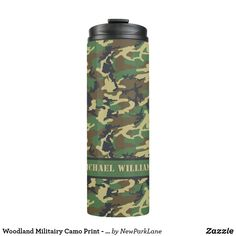 Shop Woodland Militairy Camo Print - Personalized Thermal Tumbler created by NewParkLane. Gifts For Girls, Gifts For Dad, Best Coffee Mugs, Glass Water Bottle, Custom Tumblers, Camo Print, Drinkware, Customized Gifts, Woodland