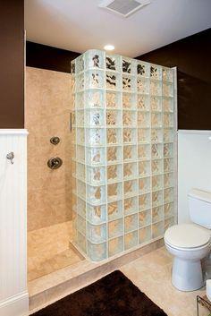 briques de verre, salle de bain classique, un mur de douche décoratif