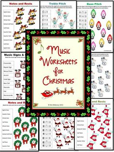 CHRISTMAS Themed Music Worksheets for your music class. This PDF file contains 24 worksheets!   #musiceducation #MusicTeacherResources