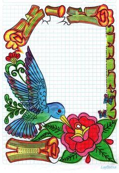 Caratulas Front Page Design, Page Borders Design, Border Design, Mind Map Art, File Decoration Ideas, Page Decoration, Apple Logo Wallpaper Iphone, Notebook Art, Borders For Paper