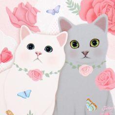 Jetoy Choo Choo Cat Couple Post Card