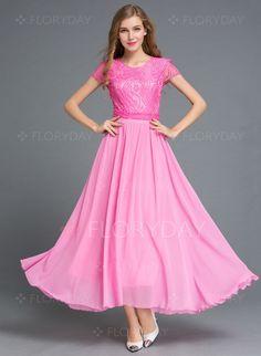 Dresses - $53.08 - Chiffon Lace Solid Short Sleeve Mid-Calf Casual Dresses…