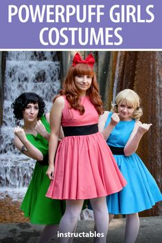 It's really easy to whip together one of the Powerpuff Girls costumes with a simple dress pattern and wig.  #Instructables #sewing #fashion #cosplay #cartoon #TV #movie #kids #animation