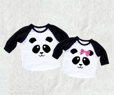 Brother and Sister Set Panda with Bow Kids/Toddler by SofSBoutique