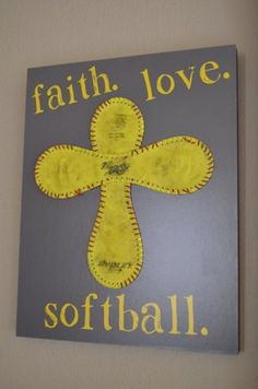 Faith. Love. Softball.  Standout Display by JaninaDesign on Etsy, $45.00