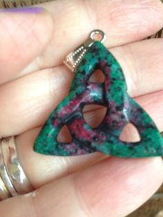 Ruby  zoisite Celtic Knot  Trinity Triquetra Triangle Natural Gemstone Pendant by LyrisBeadBoutique on Etsy