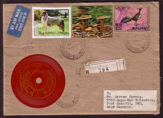 Envelope from Bhutan with playable postage stamp.