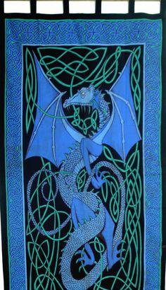 """""Handmade"""" Celtic Dragon Tab Top 100% Cotton Curtain Drape Panel Blue 44x88"