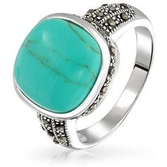 Bling Jewelry Vintage Style Marcasite Square Turquoise Ring Gemstone... (52 CAD) ❤ liked on Polyvore featuring jewelry, rings, blue, antique rings, blue turquoise ring, turquoise ring, gemstone rings and square silver ring
