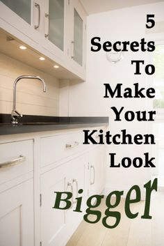 Making Your Kitchen Bigger - good ideas here!   If you can't afford new, light colored cabinetry, simply paint the existing cabinets!  Update your hardware & possibly add a new countertop and sink fixture.  There are lots of easy, inexpensive DIY backsplash ideas out there to do, as well. Please - no dated curtains.  Bottom line?  Remember, keep it SIMPLE, bright and uncluttered!