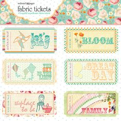 Websters Pages - Sunday Picnic Collection - Fabric Tickets at Scrapbook.com $3.49