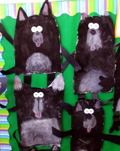 Splat the Cats, using paint, chalk and special paper folded legs