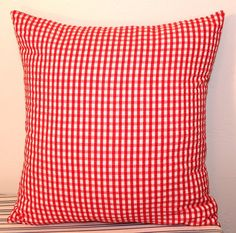Red and White Gingham Throw Pillow by RockabillyRehab on Etsy