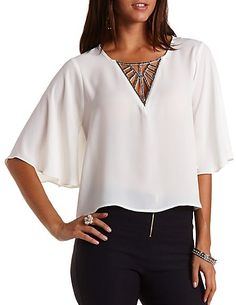 Beaded Cut-Out Angel Sleeve Top